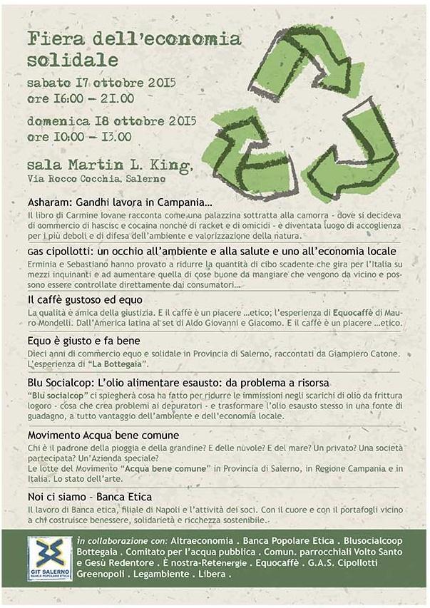 Seconda fiera dell'economia solidale, Salerno, Programma dei giorni 17 e 18 ottobre 2015.