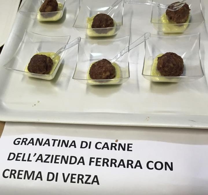 Granatina di carne dell'azienda Ferrara con crema di verza