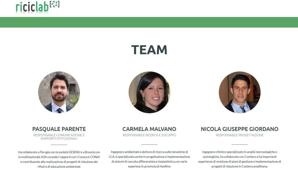 Il team di Riciclab: Pasquale Parente, Carmela Malvano, Nicola Giuseppe Giordano