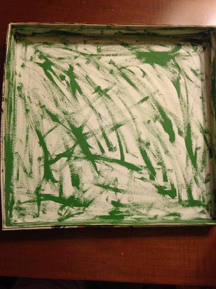 L'interno della scatola con il tocco green artistico