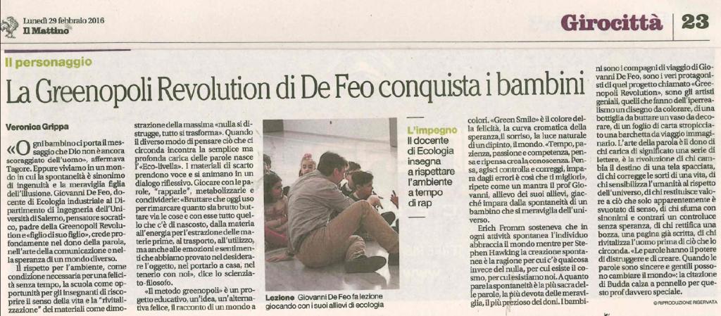 Greenopoli sulla Rassegna Stampa di Ateneo - Università degli Studi di Salerno - 29.02.2016