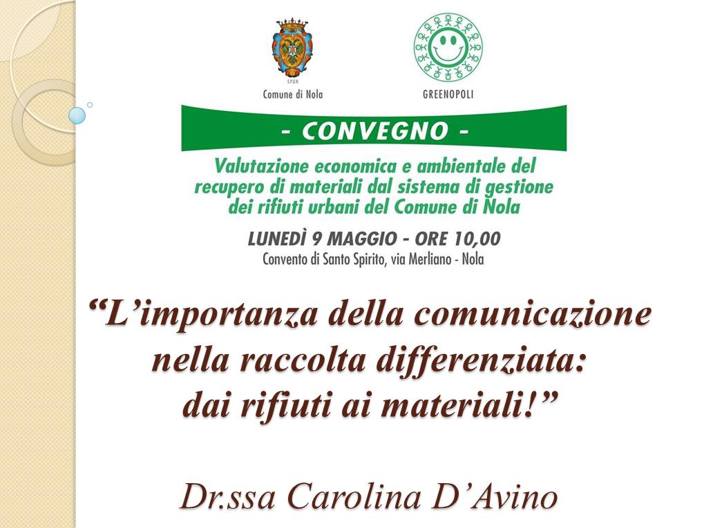 Convegno Nola, 9 maggio 2016 - Presentazione Carolina D'Avino